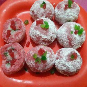 Diwali special mitthai pink coconut nariyal laddu