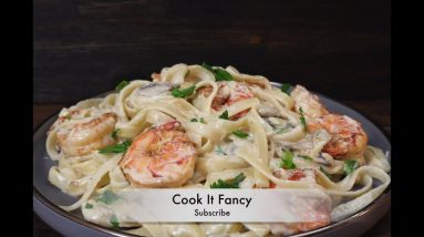 How to Cook The Best  Fettuccine Shrimp pasta