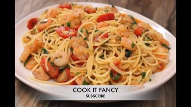 How to make spaghetti shrimp dinner.