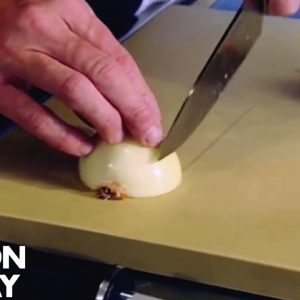 How To Finely Chop An Onion | Gordon Ramsay
